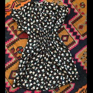 Rebecca Taylor Hammered Silk Rosalie Ruffle Dress